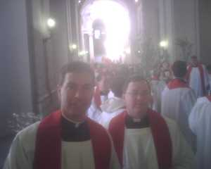 Fr. Burke & Fr. Mike Lavan prepare for Palm Sunday Mass at St. Peter's in Rome.